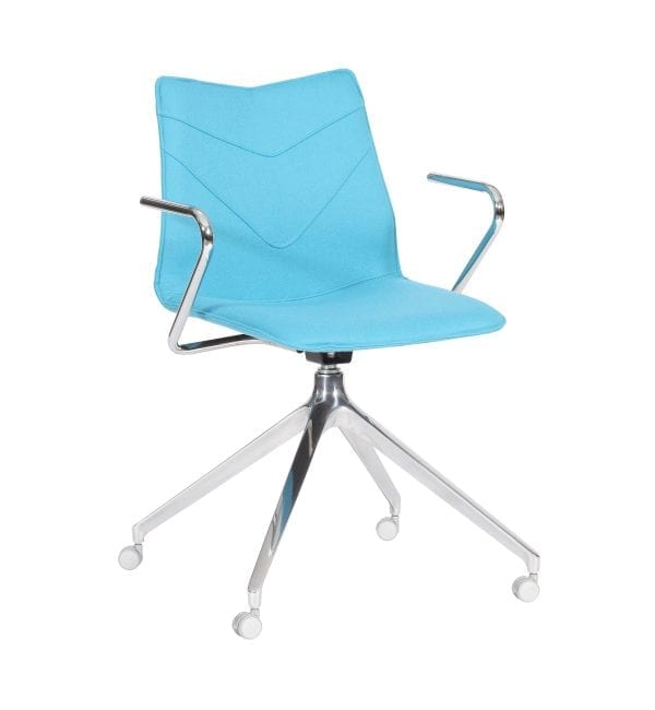 TV18A – TuVee range - Stylish chair with aluminium 4 star pyramid base and arms – from Summit Chairs