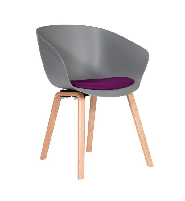 SO40 – Scoot range - multipurpose plastic armchair with wooden legs & upholstered seat – from Summit Chairs