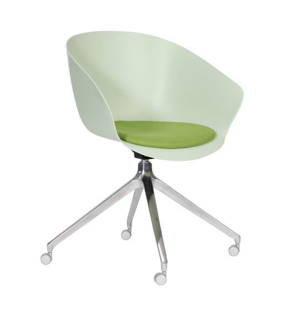 SO80 – Scoot range - multipurpose plastic armchair in green with pyramid base and upholstered seat – from Summit Chairs
